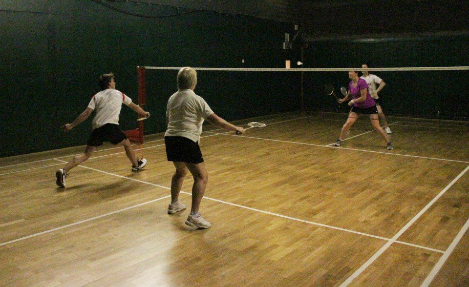 Playing badminton at The Limpsfield Club