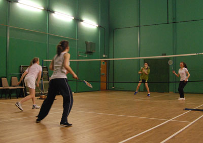 Playing badminton the Limpsfield Club